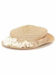 Chanel Pre-Owned flower embellished straw hat - Brown