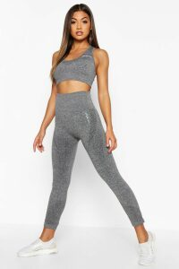 Womens Fit Supportive Waistband Seamless Leggings - Grey - M, Grey