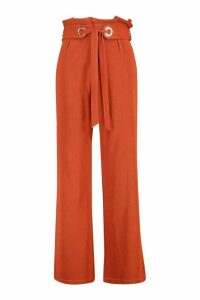 Womens Plus Wide Leg Trousers - Brown - 16, Brown