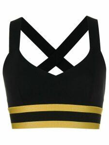 No Ka' Oi stripe detail cropped top - Black
