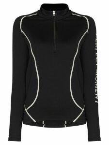Perfect Moment logo print thermal half-zip performance top - Black
