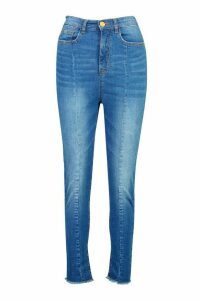 Womens High Rise Seam Front Skinny Jean - blue - 12, Blue