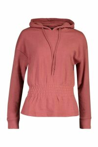 Womens Soft Shirred Waist Hoodie - pink - 14, Pink