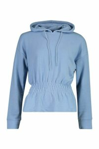Womens Soft Shirred Waist Hoodie - blue - 14, Blue