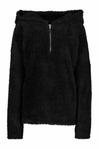 Womens Borg Oversized Zip Hoodie - black - 8, Black