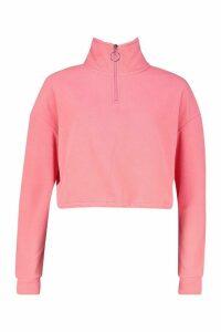 Womens Fleece Zip Front jumper - orange - XS, Orange
