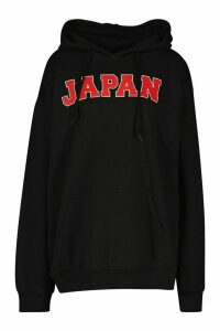 Womens Japan Slogan Print Hoodie - black - M, Black