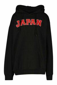 Womens Japan Slogan Print Hoodie - black - M, Black