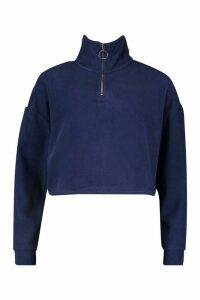 Womens Fleece Zip Front jumper - navy - M, Navy