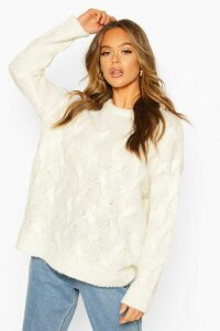 Womens All Over Cable Knit Longline Jumper - white - M, White