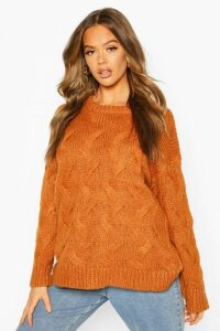 Womens All Over Cable Knit Longline Jumper - Brown - M, Brown