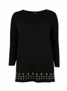 Black Stud Detail Soft Touch Tunic Top, Black
