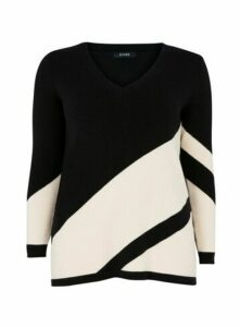 Black Diagonal Stripe Jumper, Black