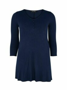 Navy Blue Button Detail Swing Tunic, Navy