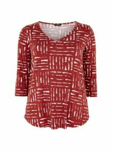 Red Printed 3/4 Sleeve Top, Rust