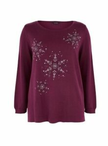 Plum Snowflake Embellished Christmas Jumper, Plum