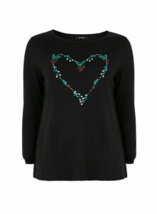 Black Christmas Heart Jumper, Black