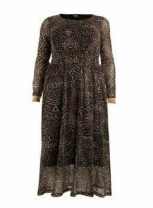 **Aarya Brown Animal Print Maxi Dress, Brown