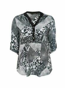 Black Floral Print Jersey Shirt, Black/White