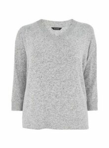 Grey Soft Touch V-Neck Top, Grey