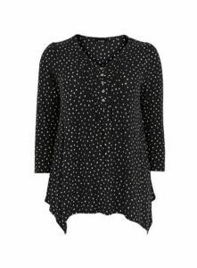 Black Polka Dot Pintuck Top, Black