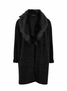 Black Faux Fur Collar Cardigan, Black
