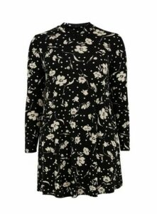 Black Floral Print High Neck Tunic Top, Black