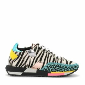 Ghoud Rush Sneaker In Cowhide With Zebra Print And Animal Details