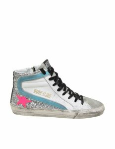 Golden Goose Slide Sneakers In White Color Leather