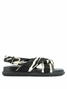 Marni Fussbett zebra-print crisscross sandals - Black