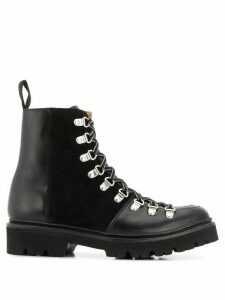 Grenson lace up biker boots - Black