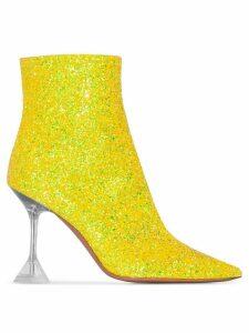 Amina Muaddi Georgia 95mm glitter boots - Yellow