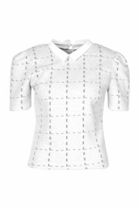 Womens Boucle Checked Collar Puff Sleeve Top - white - 12, White