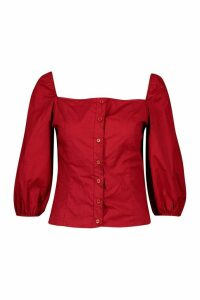 Womens Square Neck Puff Sleeve Blouse - red - 14, Red
