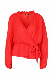 Womens Ruffle Neck Wrap Blouse - Red - 12, Red