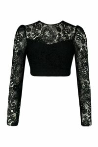 Womens Corded Lace Puff Sleeve Crop Top - black - 14, Black