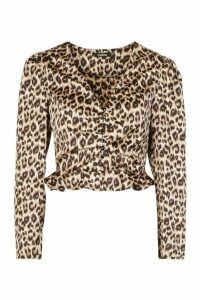 Womens Satin Animal Print Button Through Blouse - brown - 14, Brown