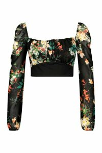 Womens Mesh Puff Sleeve Floral Crop Top - black - 6, Black