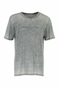 Womens Acid Wash French Slogan T-Shirt - Grey - S, Grey