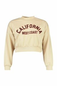 Womens California Slogan Crop Sweat - beige - 16, Beige