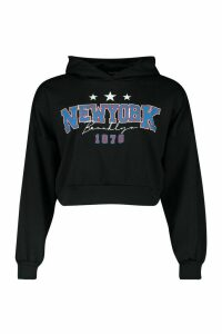 Womens New York Slogan Crop Hoody - black - 16, Black