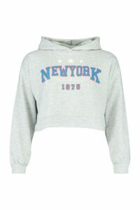 Womens New York Slogan Crop Hoody - grey - 16, Grey