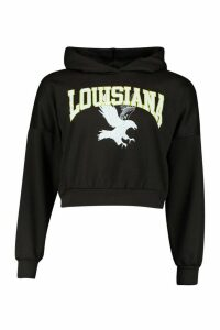 Womens Louisiana Slogan Crop Hoody - black - 12, Black