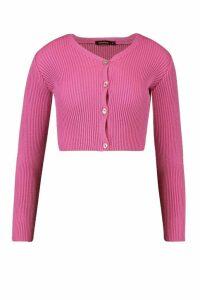 Womens Skinny Rib Knit Cropped Cardigan - Pink - M, Pink