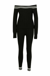 Womens Knitted Jumper & Trouser Co-ord - black - M, Black
