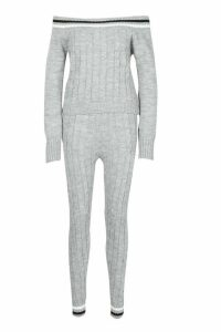 Womens Knitted Jumper & Trouser Co-ord - grey - S, Grey
