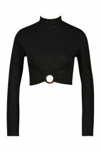 Womens Rib High Neck O-Ring Long Sleeve Crop Top - black - 16, Black