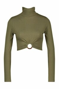 Womens Rib High Neck O-Ring Long Sleeve Crop Top - Green - 16, Green