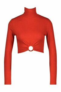 Womens Rib High Neck O-Ring Long Sleeve Crop Top - orange - 16, Orange