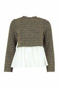 Womens Boucle High Neck Shirt - beige - 12, Beige